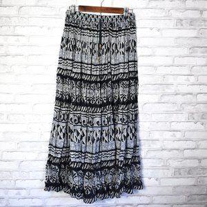Boho Hippie Black and White Full Maxi Skirt